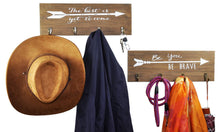 Load image into Gallery viewer, Select nice spiretro set of 2 wall mount wood plaque metal key hook rack printed arrow sign and inspirational words coat hat bag hang organizer leash holder 16 5 inch for entryway kids room hallway closet rustic teak brown