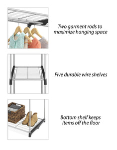 Buy now whitmor double rod freestanding closet heavy duty storage organizer