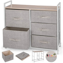 Load image into Gallery viewer, Top rated happybuy 5 drawer storage organizer unit with fabric bins bedroom play room entryway hallway closets steel frame mdf top dresser storage tower fabric cube dresser chest cabinet beige tall