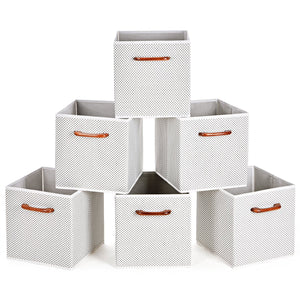 Best seller  maidmax foldable storage cubes set of 6 decorative fabric storage bins containers organizers drawers with wood handles for shelves clothes closet kids bedroom gray polka dot