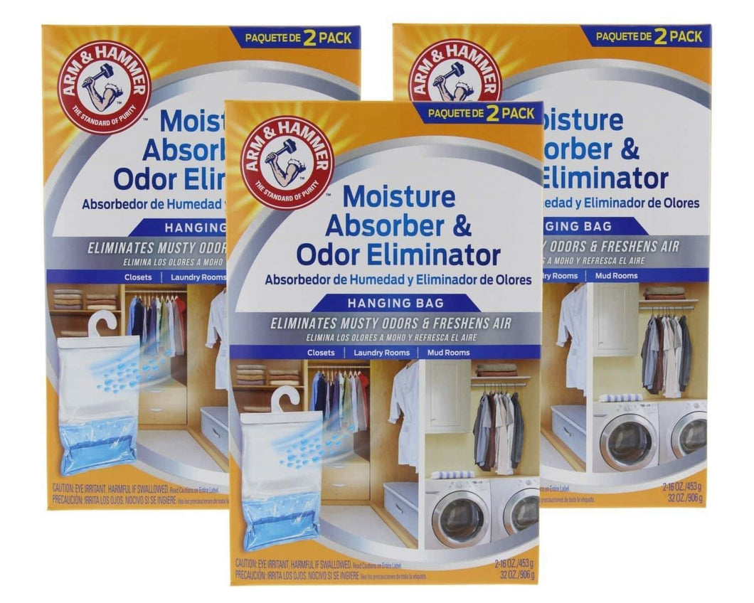 Selection arm hammer moisture absorber odor eliminator 16oz hanging bag 3 pack 6 bags total eliminates musty odors freshens air for closets laundry rooms mud rooms