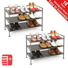 Load image into Gallery viewer, New seville classics 3 tier stackable 9 pair woodgrain resin slat shelf sturdy metal frame shoe storage rack organizer 2 pack perfect for bedroom closet entryway dorm room espresso
