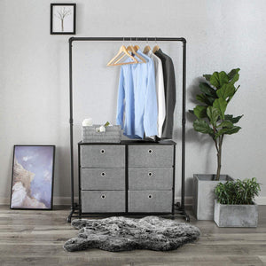 New songmics 3 tier wide dresser storage unit with 6 easy pull fabric drawers metal frame and wooden tabletop for closet nursery hallway 31 5 x 11 8 x 24 8 inches gray ults23g