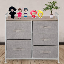 Load image into Gallery viewer, Best seller  happybuy 5 drawer storage organizer unit with fabric bins bedroom play room entryway hallway closets steel frame mdf top dresser storage tower fabric cube dresser chest cabinet beige tall