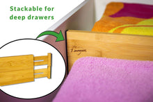 Load image into Gallery viewer, Storage drawer dividers bamboo kitchen organizers set of 6 spring loaded drawer divider adjustable expandable drawer organizer best for kitchen bedroom dresser baby drawers closet