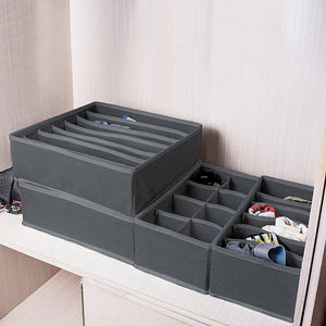 Organize with titan mall closet underwear organizer drawer foldable storage box drawer dividers dresser drawer organizers for underwear bras grey set of 4 dark grey