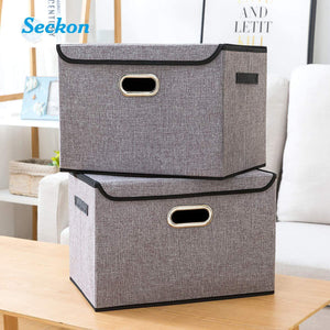 Exclusive seckon collapsible storage box container bins with lids covers2pack large odorless linen fabric storage organizers cube with metal handles for office bedroom closet toys