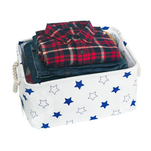 Load image into Gallery viewer, Storage organizer storage bin zonyon rectangular collapsible linen foldable storage container baby basket hamper organizer with rope handles for boys girls kids toys office bedroom closet gift basket blue star