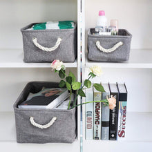 Load image into Gallery viewer, Select nice kedsum fabric storage bins baskets foldable linen storage boxes with handles closet organizers bins cube storage baskets bins for shelves clothes closet nursery gray 3 pack
