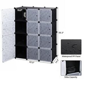 New songmics cube storage organizer 12 cube closet storage shelves diy plastic closet cabinet modular bookcase storage shelving with doors for bedroom living room office black ulpc34h