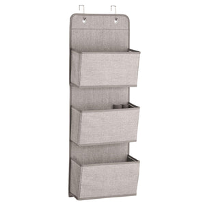 The best mdesign a568 soft fabric over the door hanging storage organizer with 3 large pockets for closets in bedrooms hallway entryway mudroom hooks included textured print 2 pack linen tan