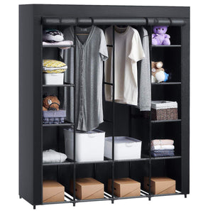 Get aoou closet organizer wardrobe closet portable closet closet organizers and storage with non woven fabric easy to assemble 56 x 18 5 x 66 inches black