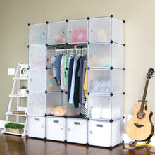 Load image into Gallery viewer, Amazon unicoo multi use diy 20 cube organizer wardrobe bookcase storage cabinet wardrobe closet with design pattern deeper cube semitransparent