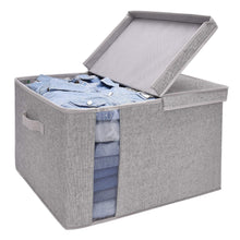 Load image into Gallery viewer, Featured storageworks closet storage organizer with transparent clear window storage boxes with lid double open lid gray cotton fabric box jumbo