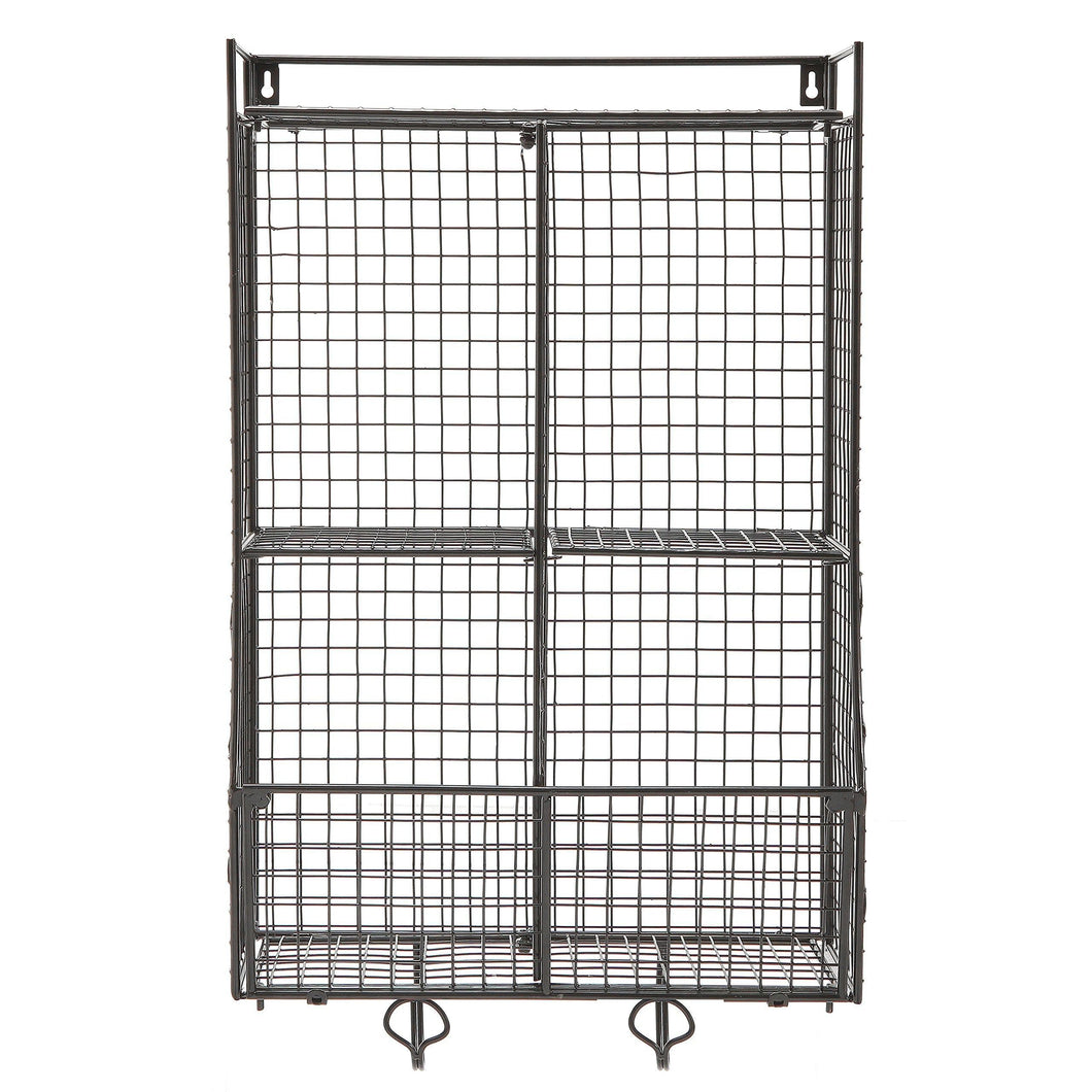 Wall Mounted/Collapsible Black Metal Wire Mesh Storage Basket Shelf Organizer Rack w/ 2 Hanging Hooks