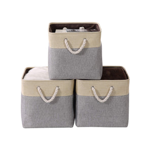 Get decomomo cube foldable storage bin 3 pack collapsible sturdy cationic fabric storage basket with handles for organizing shelf nursery home closet laundry office grey beige 13 x 13 x 13
