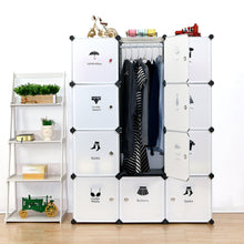 Load image into Gallery viewer, Save unicoo multi use diy plastic 12 cube organizer toy organizer bookcase storage cabinet wardrobe closet white with door sticker deeper cube white