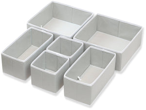 Shop here simple houseware foldable cloth storage box closet dresser drawer divider organizer basket bins for underwear bras gray set of 6