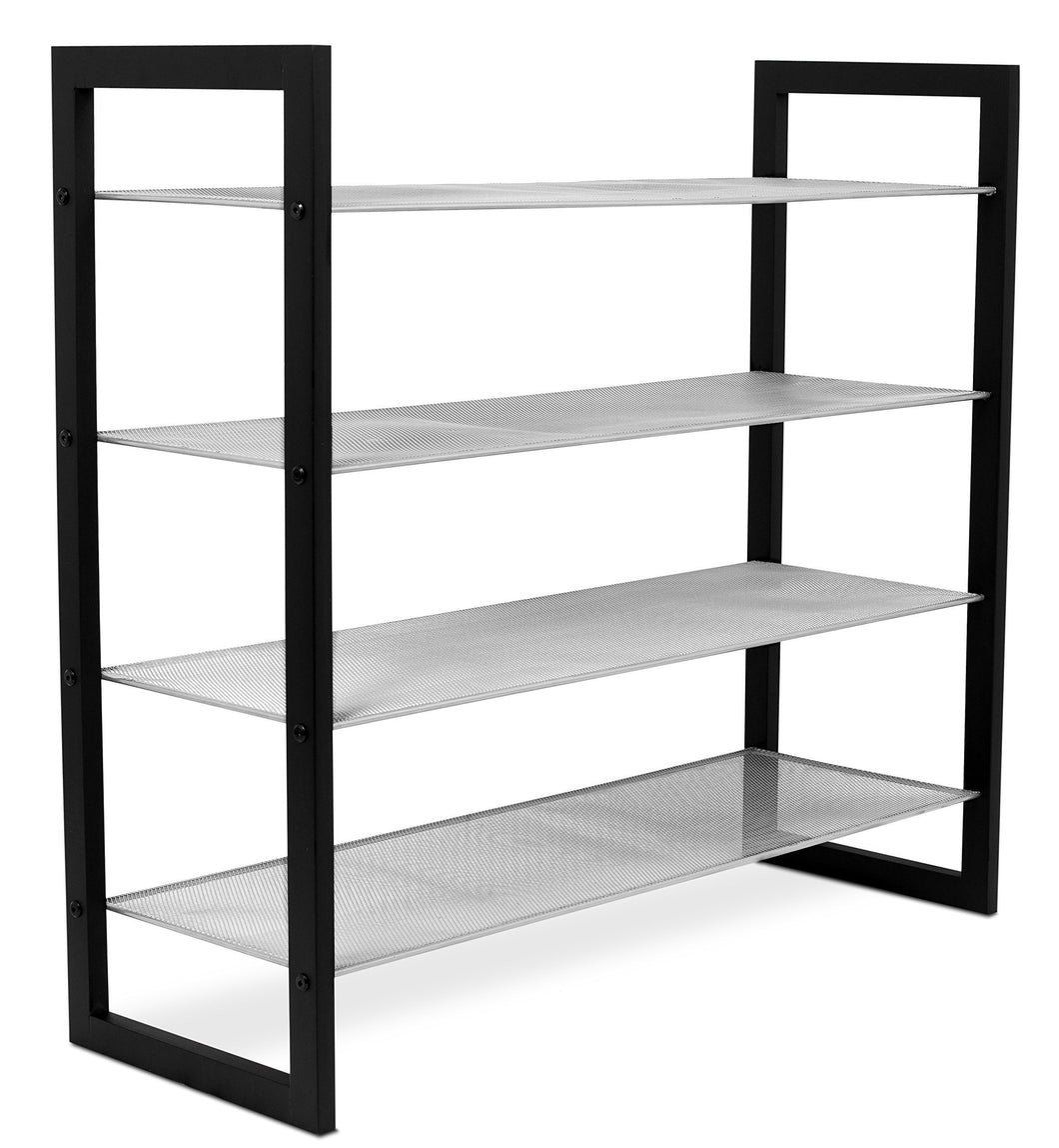 Save on internets best mesh shoe rack 4 tier free standing metal wood shoe organizer closet and entryway fits 16 pairs of shoes black silver