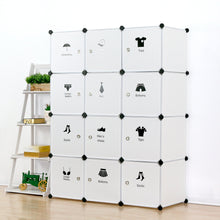 Load image into Gallery viewer, Results unicoo multi use diy plastic 12 cube organizer toy organizer bookcase storage cabinet wardrobe closet white with door sticker deeper cube white