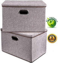 Load image into Gallery viewer, Explore large linen fabric foldable storage container 2 pack with removable lid and handles storage bin box cubes organizer gray for home office nursery closet bedroom living room