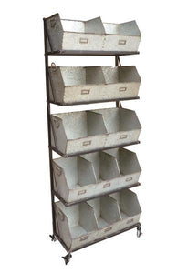 Colby Industrial Chic Storage Unit Shelf With 12 Storage Bins & Castor Wheels
