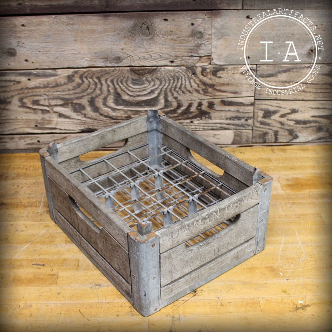 Vintage Bowman Dairy Wooden Milk Egg Reinforced Crate