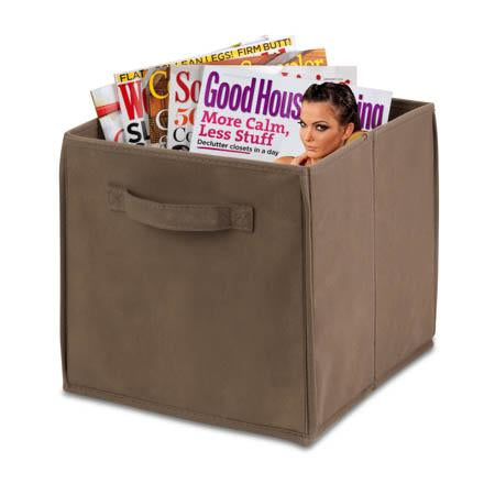 Collapsible Storage Bin, Taupe