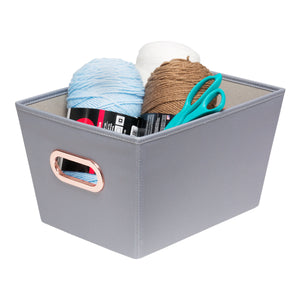 Small Storage Bin with Handles, Grey