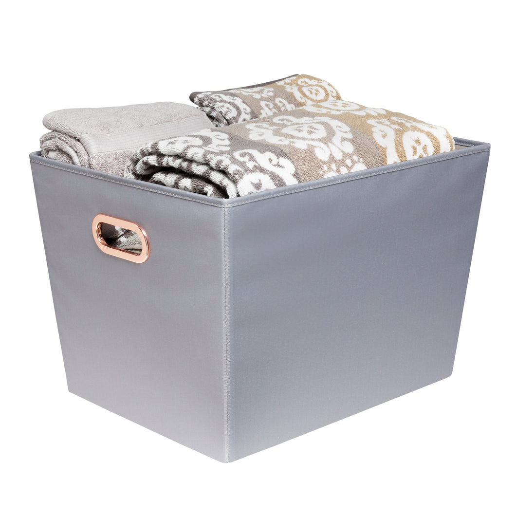 Large Storage Bin with Handles, Grey