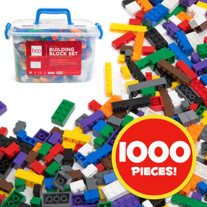 1000-Piece Kids Building Block Brick Set w/ Storage Bin - Multicolor