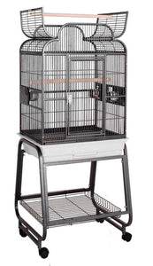 "Scroll Top 22""x17"" Bird Cage and Rolling Stand w Shelf - Platinum White"