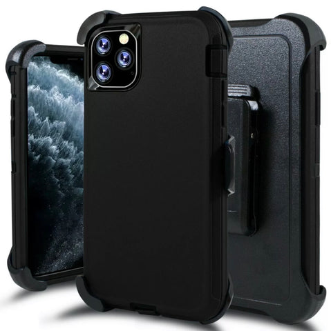 iPhone 11 Pro Max Heavy Duty Defender Shockproof Belt Clip Case Black