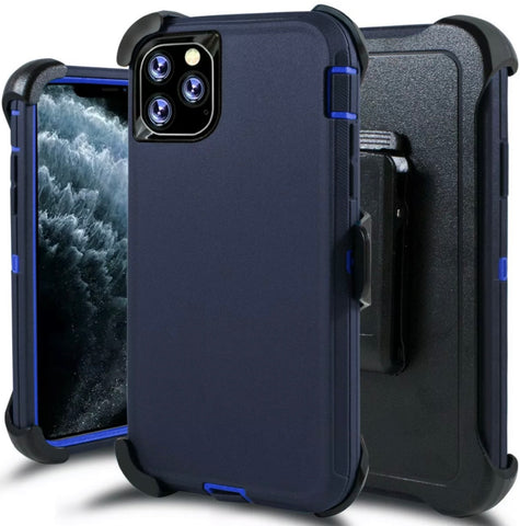 iPhone 11 Pro Max Heavy Duty Defender Shockproof Belt Clip Case blue