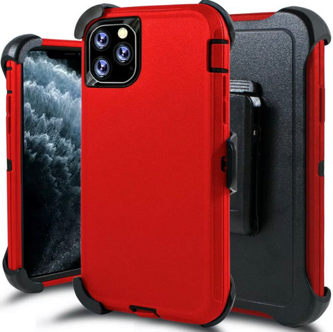 iPhone 11 Pro Max Heavy Duty Defender Shockproof Belt Clip Case red