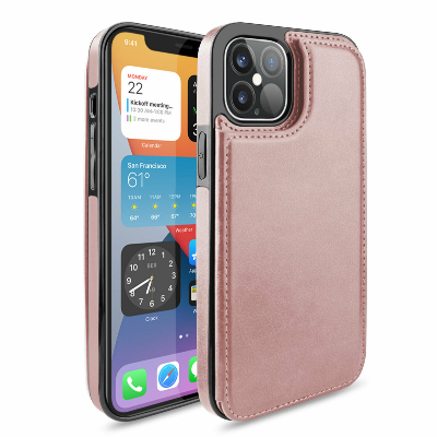 iPhone 12 Pro Wallet Case Magnetic Leather Stand Card Holder Cover Pink