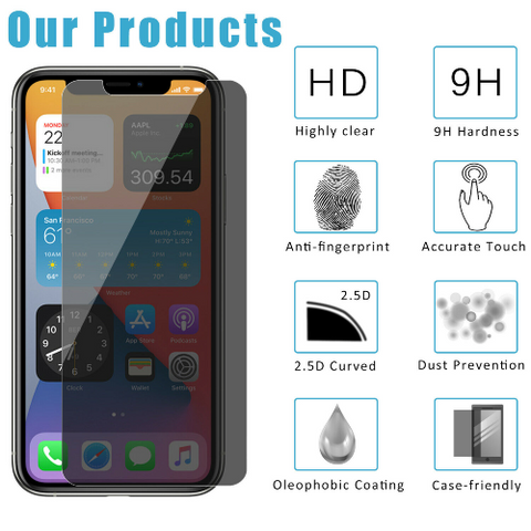 iPhone 12 Pro Max Anti-Spy Privacy Tempered Glass Screen Protector 2-Pack