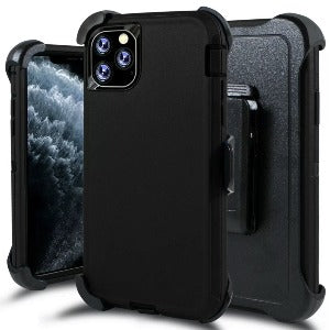 iPhone 11 Pro max Heavy Duty Defender shockproof Belt Clip Holster case  Black