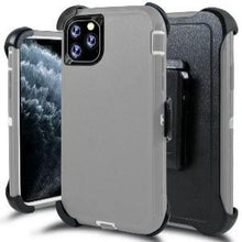 Load image into Gallery viewer, iPhone 11 Heavy Duty Defender shockproof Belt Clip Holster case Grey White