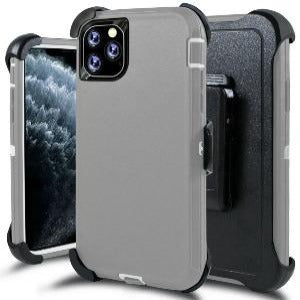 iPhone 11 Heavy Duty Defender shockproof Belt Clip Holster case Grey White