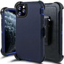 Load image into Gallery viewer, iPhone 11 Pro Heavy Duty Defender shockproof Belt Clip Holster case navy Blue