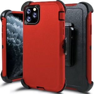 iPhone 11 Pro Max Heavy Duty Defender shockproof Belt Clip Holster case Red