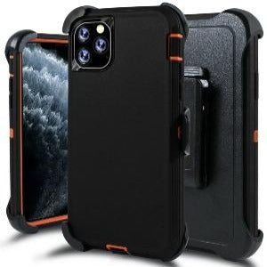iPhone 11 Heavy Duty Defender shockproof Belt Clip Holster case black orange