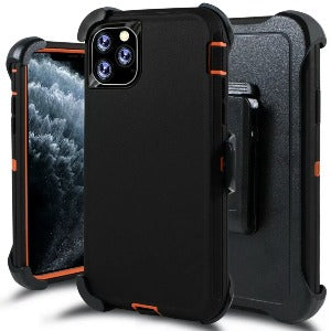 iPhone 11 Pro Max Heavy Duty Defender shockproof Belt Clip Holster case black orange