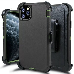 iPhone 11 Pro Heavy Duty Defender shockproof Belt Clip Holster case charcoal green