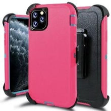 Load image into Gallery viewer, iPhone 11 Heavy Duty Defender shockproof Belt Clip Holster case Pink Teal