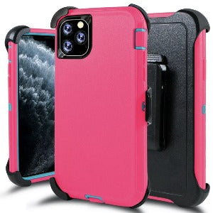 iPhone 11 Pro Max Heavy Duty Defender shockproof Belt Clip Holster case Pink