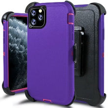 Load image into Gallery viewer, iPhone 11 Heavy Duty Defender shockproof Belt Clip Holster case purple pink