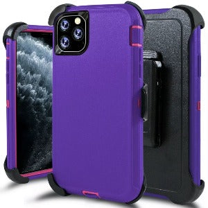 iPhone 11 Pro Max Heavy Duty Defender shockproof Belt Clip Holster case purple pink