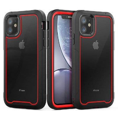 iPhone 11 Pro Heavy Duty Shockproof Clear Case red